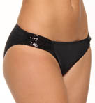 Sequins Trim Side Shirred Hipster Swim Bottom