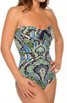 Taj Paisley Shirred Bandeau One Piece Swimsuit
