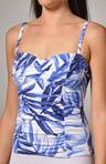 Spanish Palm Foam Cup Shirred Tankini Swim Top