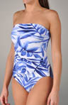 Spanish Palm Shirred Bandeau One Piece Swimsuit