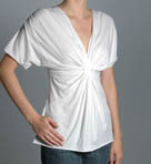 Flutter Sleeve Gathered Front V-Neck Tee