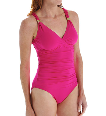 Lauren Ralph Lauren Beach Club Solids Shirred Slimming 1-Pc Swimsuit